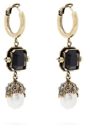Alexander Mcqueen - Onyx And Pearl Drop Earrings - Womens - Gold