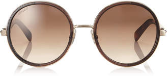 64c76ae651b7 Jimmy Choo ANDIE Havana Brown Acetate Round Framed Sunglasses with Gold  Silver Crystal Fabric Detailing