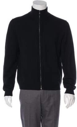 Prada Wool Leather-Trimmed Sweater