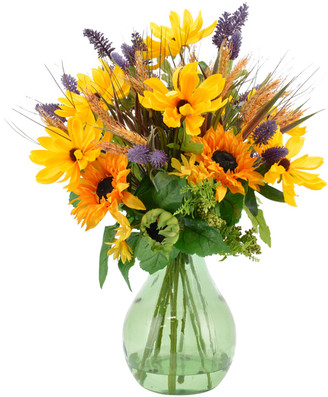 Creative Displays Mixed Sunflower & Black Eyed Susan Arrangement In Green Glass Jar