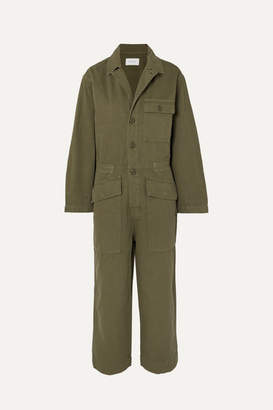 Current/Elliott The Richland Cotton And Linen-blend Jumpsuit - Army green
