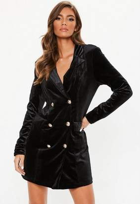 Missguided Black Velvet Blazer Dress, Black