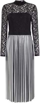 Linea Etty lace bodice metallic pleat dress