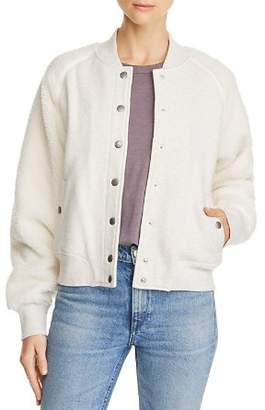 Rag & Bone Teddy Fleece-Sleeve Bomber Jacket