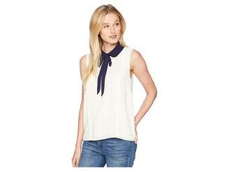 CeCe Sleeveless Collared Blouse with Neck Tie