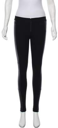 Alice + Olivia Low-Rise Leather-Accented Leggings