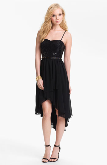 Way-In Studded Waist High/Low Dress (Juniors) Black 1