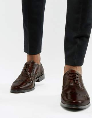 Asos Design DESIGN oxford brogue shoes in brown leather