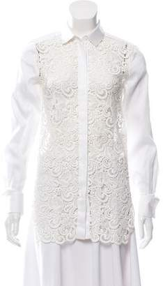 Celine Lace-Accented Button-Up Blouse