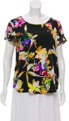 Yumi Kim Floral Silk Short-Sleeve Blouse