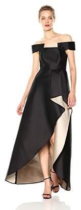 Halston Women's Off Shoulder Geo Neck Gown with Sheer Skirt