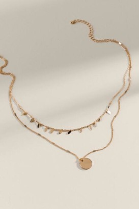 francesca's Miranda Layered Coin Pendant Necklace - Gold