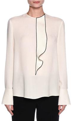 Giorgio Armani Ruffled Button-Back Tuxedo Blouse, Off White $1,995 thestylecure.com