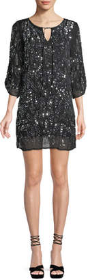 Tolani Saida Ruched 3/4-Sleeve Sequined Tunic Dress