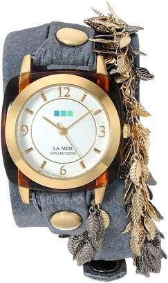 La Mer Women's 'Multi Leaf' Quartz Gold-Tone and Leather Automatic Watch, Color:Blue (Model: LMCW2016366)