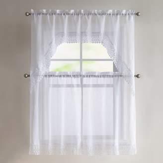 Vcny VCNY 4-piece Farrah Lace Tier & Valance Kitchen Window Curtain Set