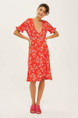 Topshop Ditsy floral print wrap dress