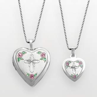 Silver Cross Kohl's Sterling & Flower Heart Locket & Pendant Set