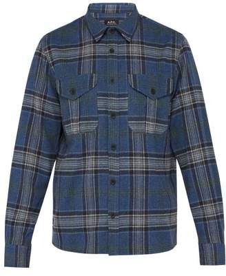 A.P.C. Breton Plaid Brushed Flannel Shirt - Mens - Blue Multi