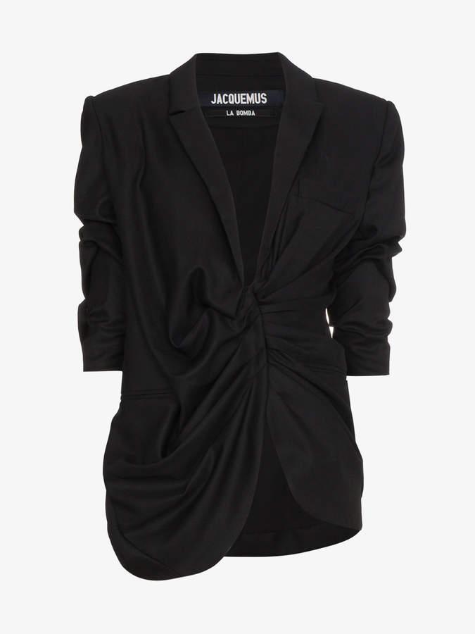 Wool blazer with gathered waist