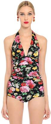 Dolce & Gabbana Roses Printed Lycra One Piece Swimsuit