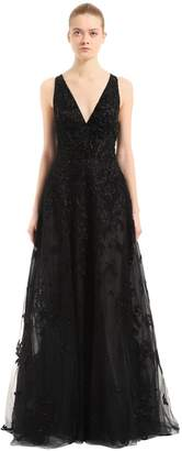 Beaded Tulle Floral Gown W/ Cape