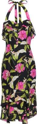 Milly Ruffled Floral-print Silk-chiffon Halterneck Dress