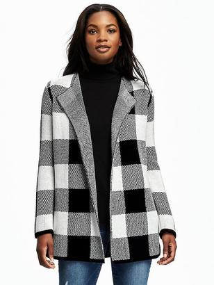 Textured Plaid Open-Front Cardi for Women $54.94 thestylecure.com