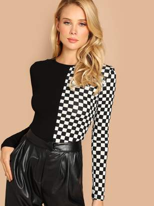 Shein Cut and Sew Fitted Checked Tee