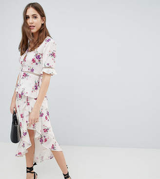 Fashion Union Tall Tea Blouse With Ladder Inserts In Vintage Floral Two-Piece