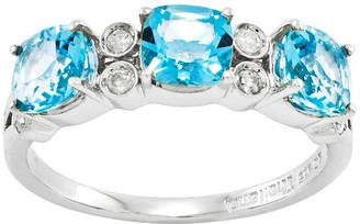 Sterling Choice of Cushion-Cut 3-Stone Gem Ring