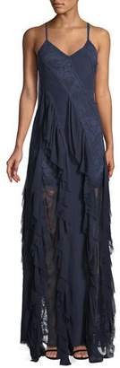 Alice + Olivia Jayda Sleeveless Ruffle Silk Godet Maxi Dress