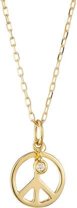 Sydney Evan 14K Yellow Gold Diamond Peace Pendant Necklace