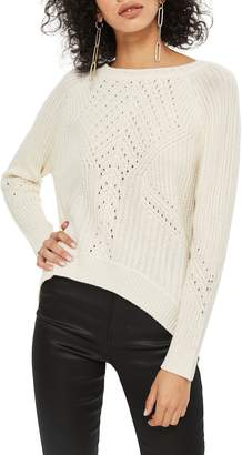 Topshop Rib & Pointelle Stitch Sweater