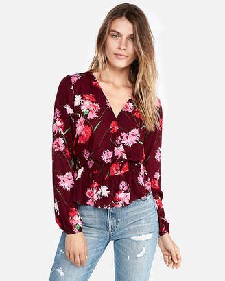 Express Petite Floral Smocked Waist Surplice Blouse