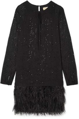 MICHAEL Michael Kors Crystal And Feather-embellished Chiffon Mini Dress - Black