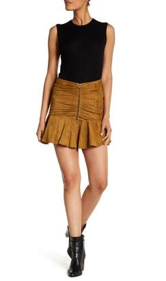 Veronica Beard Weston Ruched Suede Skirt
