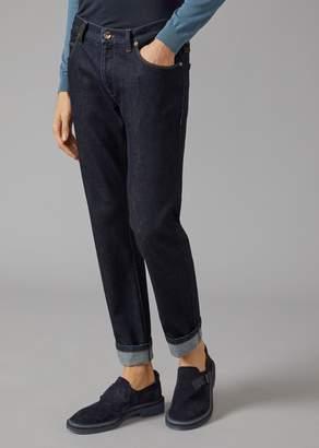 Giorgio Armani Slim Fit Jeans In Cotton And Cashmere Denim