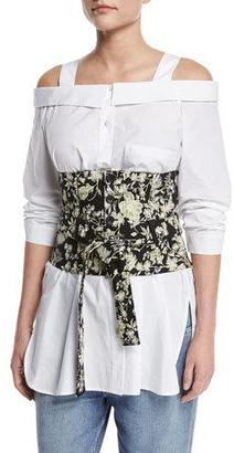 Robert Rodriguez Floral Embroidered Tie-Waist Corset $295 thestylecure.com