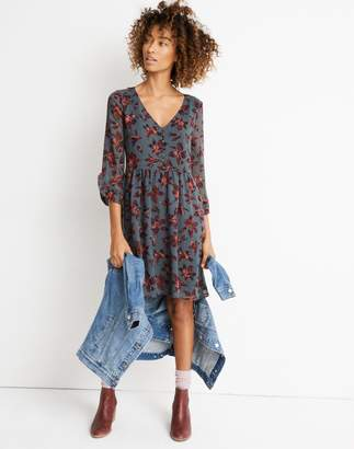 Madewell Moonblossom Ruffle-Sleeve Dress in Winter Orchid