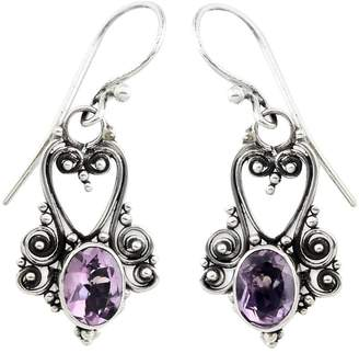 Novica Artisan Crafted Sterling Oval Amethyst Earrings