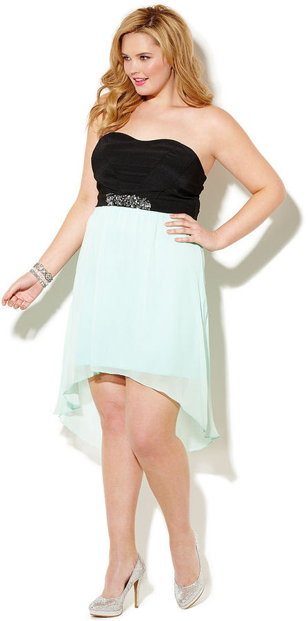 Ruby Rox Plus Size Dress, Strapless Embellished Empire High-Low