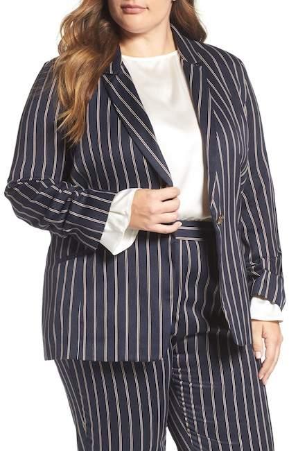 Elvi Oversize Pinstripe Blazer (Plus Size)