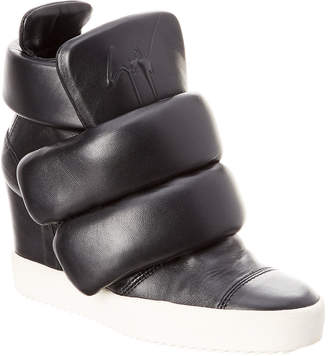 Giuseppe Zanotti Leather High-Top Wedge Velcro Sneaker