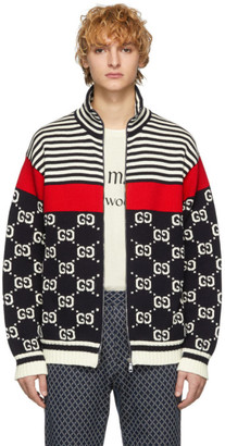 Gucci Navy and Off-White Knit GG Stripe Zip-Up Jacket