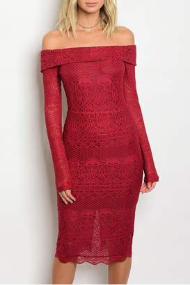 Hommage Red Lace Dress