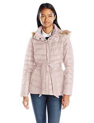 U.S. Polo Assn. Women's Belted Puffer Jacket with Faux Fur Hood Trim