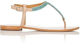 Barneys New York WOMEN'S BEADED LEATHER T-STRAP SANDALS