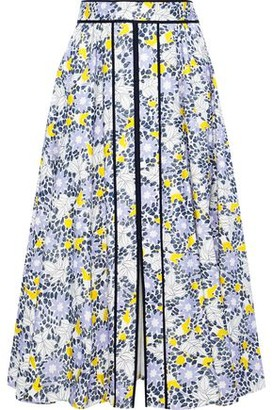 Carolina Herrera Grosgrain-Trimmed Floral-Print Cotton-Blend Midi Dress