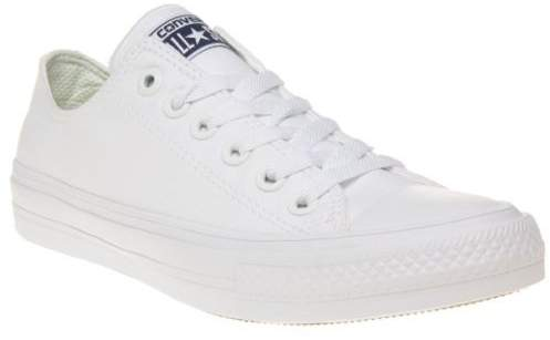 New Boys White Chuck Taylor All Star II Low Canvas Trainers Lace Up